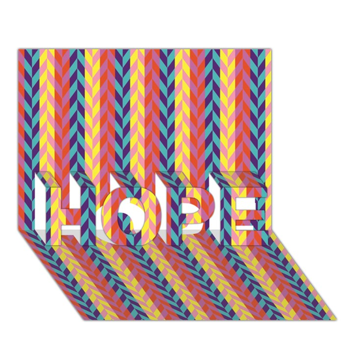 Colorful Chevron Retro Pattern HOPE 3D Greeting Card (7x5)