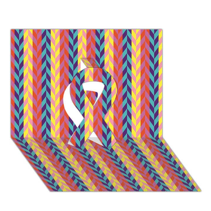 Colorful Chevron Retro Pattern Ribbon 3D Greeting Card (7x5)