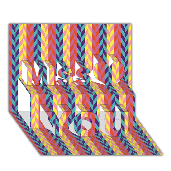 Colorful Chevron Retro Pattern Miss You 3D Greeting Card (7x5)