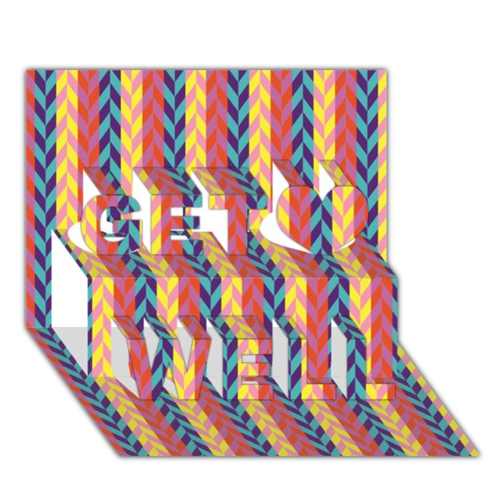 Colorful Chevron Retro Pattern Get Well 3D Greeting Card (7x5)