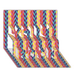 Colorful Chevron Retro Pattern You Rock 3D Greeting Card (7x5)