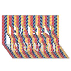 Colorful Chevron Retro Pattern Happy New Year 3d Greeting Card (8x4)