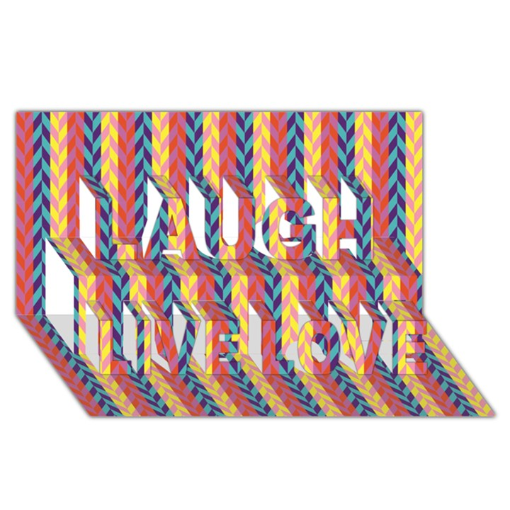Colorful Chevron Retro Pattern Laugh Live Love 3D Greeting Card (8x4)