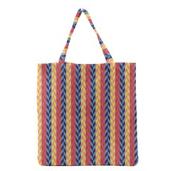 Colorful Chevron Retro Pattern Grocery Tote Bag