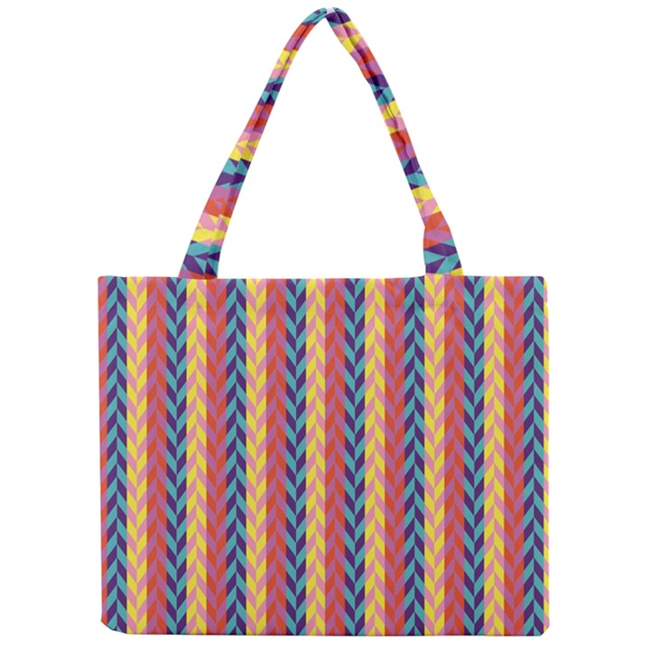 Colorful Chevron Retro Pattern Mini Tote Bag