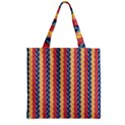Colorful Chevron Retro Pattern Zipper Grocery Tote Bag View1
