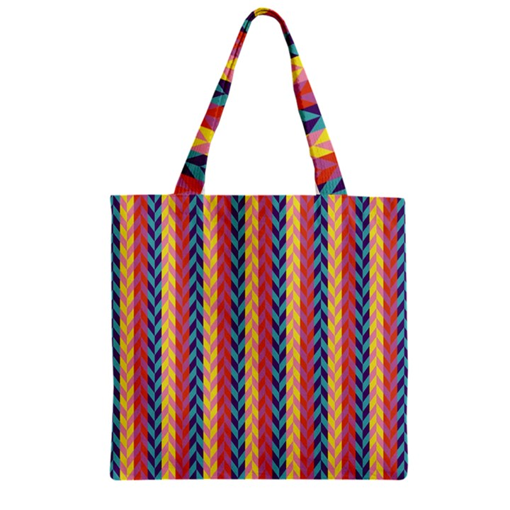 Colorful Chevron Retro Pattern Zipper Grocery Tote Bag
