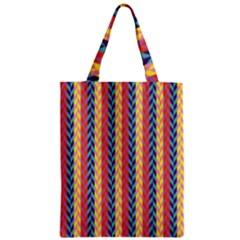 Colorful Chevron Retro Pattern Zipper Classic Tote Bag