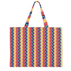 Colorful Chevron Retro Pattern Large Tote Bag