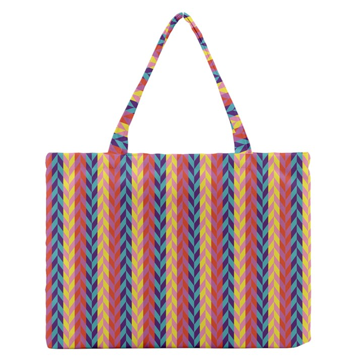 Colorful Chevron Retro Pattern Medium Zipper Tote Bag