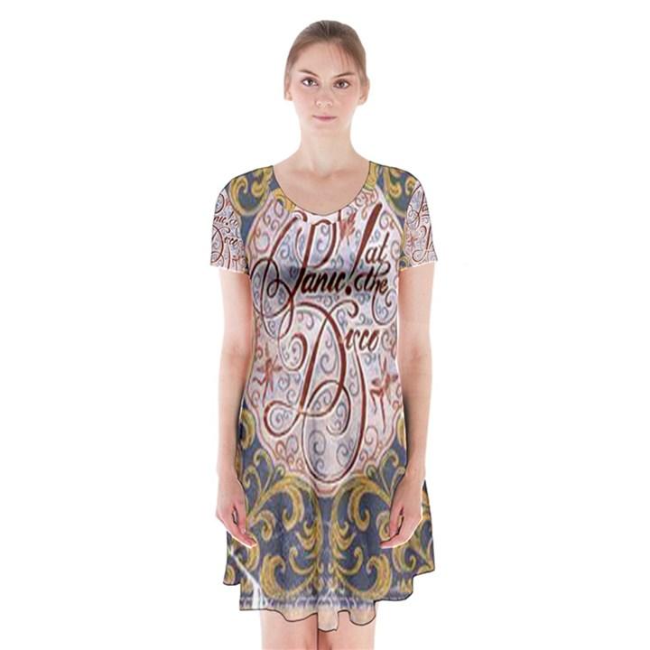 Panic! At The Disco Short Sleeve V-neck Flare Dress