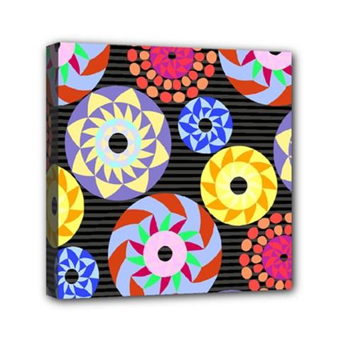 Colorful Retro Circular Pattern Mini Canvas 6  X 6