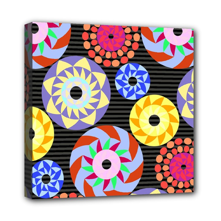 Colorful Retro Circular Pattern Mini Canvas 8  x 8