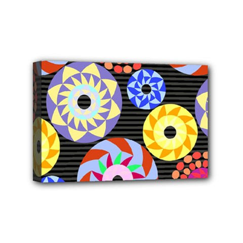 Colorful Retro Circular Pattern Mini Canvas 6  X 4