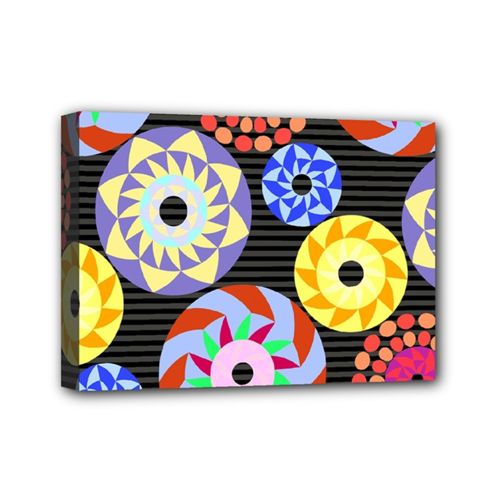 Colorful Retro Circular Pattern Mini Canvas 7  x 5
