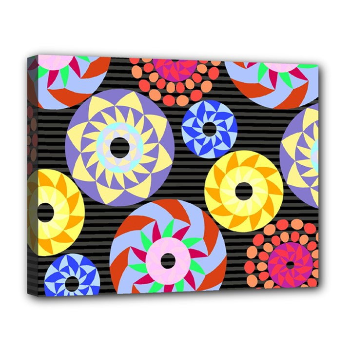 Colorful Retro Circular Pattern Canvas 14  x 11