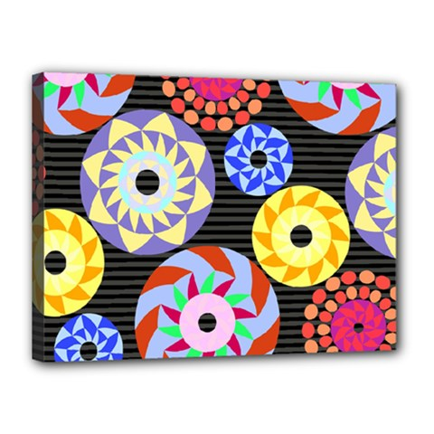 Colorful Retro Circular Pattern Canvas 16  x 12