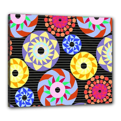 Colorful Retro Circular Pattern Canvas 24  x 20