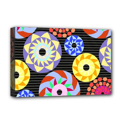 Colorful Retro Circular Pattern Deluxe Canvas 18  x 12