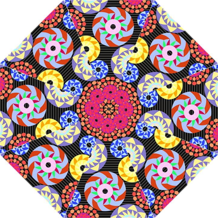 Colorful Retro Circular Pattern Hook Handle Umbrellas (Medium)
