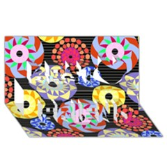 Colorful Retro Circular Pattern Best Friends 3D Greeting Card (8x4)