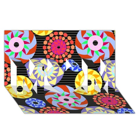 Colorful Retro Circular Pattern MOM 3D Greeting Card (8x4)