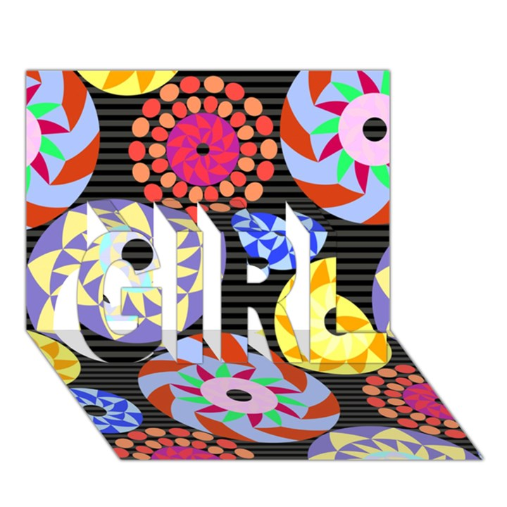 Colorful Retro Circular Pattern GIRL 3D Greeting Card (7x5)