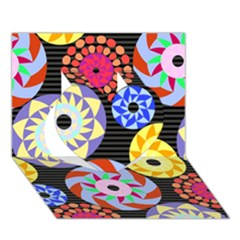 Colorful Retro Circular Pattern Heart 3D Greeting Card (7x5)