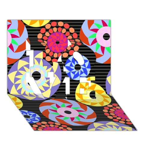 Colorful Retro Circular Pattern LOVE 3D Greeting Card (7x5)