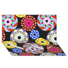 Colorful Retro Circular Pattern Twin Heart Bottom 3d Greeting Card (8x4)