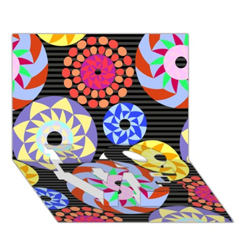Colorful Retro Circular Pattern LOVE Bottom 3D Greeting Card (7x5)
