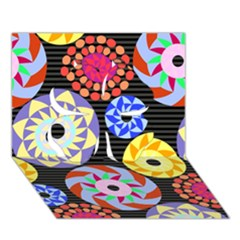 Colorful Retro Circular Pattern Clover 3d Greeting Card (7x5)