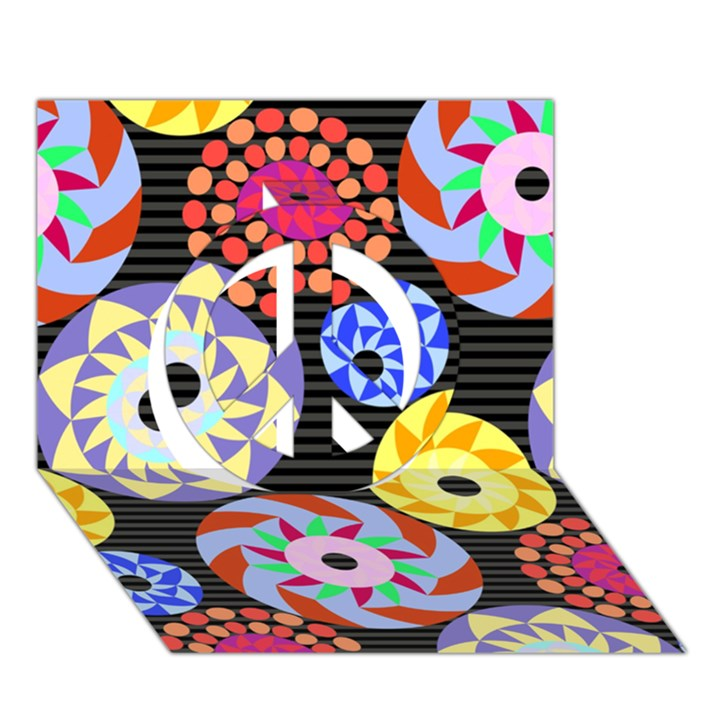 Colorful Retro Circular Pattern Peace Sign 3D Greeting Card (7x5)