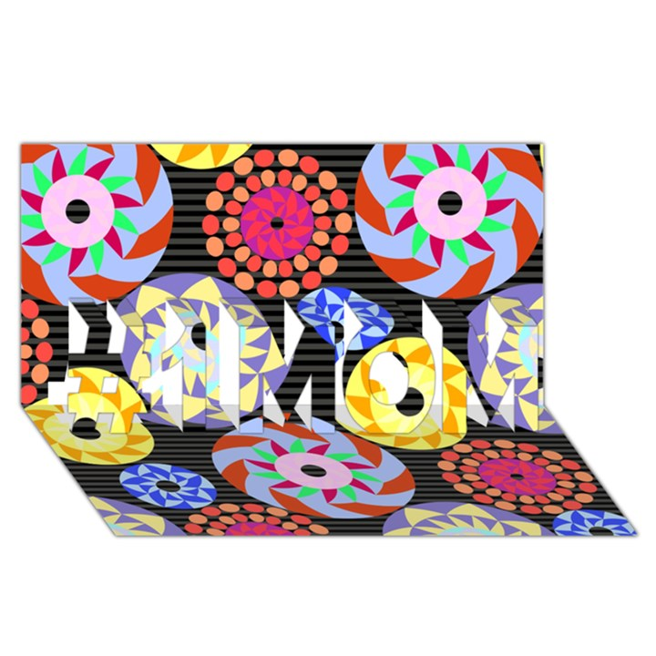 Colorful Retro Circular Pattern #1 MOM 3D Greeting Cards (8x4)