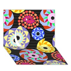 Colorful Retro Circular Pattern Circle 3D Greeting Card (7x5)