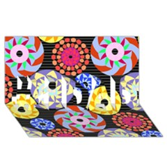 Colorful Retro Circular Pattern #1 DAD 3D Greeting Card (8x4)