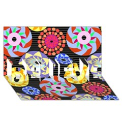 Colorful Retro Circular Pattern BELIEVE 3D Greeting Card (8x4)