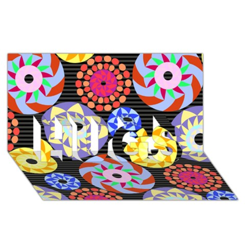 Colorful Retro Circular Pattern HUGS 3D Greeting Card (8x4)
