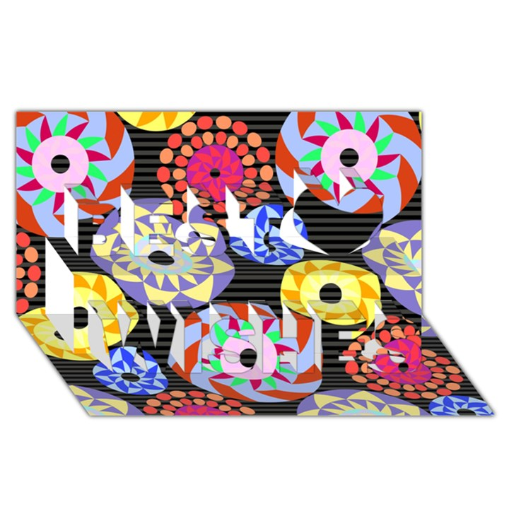 Colorful Retro Circular Pattern Best Wish 3D Greeting Card (8x4)