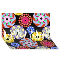 Colorful Retro Circular Pattern Engaged 3d Greeting Card (8x4)