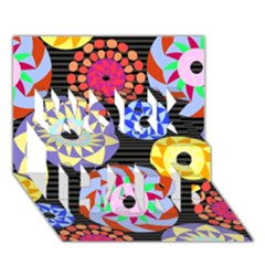 Colorful Retro Circular Pattern WORK HARD 3D Greeting Card (7x5)