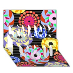 Colorful Retro Circular Pattern THANK YOU 3D Greeting Card (7x5)