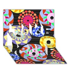 Colorful Retro Circular Pattern TAKE CARE 3D Greeting Card (7x5)