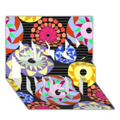 Colorful Retro Circular Pattern Get Well 3D Greeting Card (7x5)