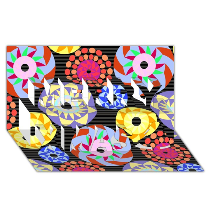Colorful Retro Circular Pattern Merry Xmas 3D Greeting Card (8x4)