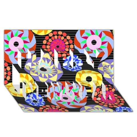Colorful Retro Circular Pattern Happy New Year 3D Greeting Card (8x4)