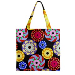 Colorful Retro Circular Pattern Grocery Tote Bag
