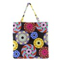 Colorful Retro Circular Pattern Grocery Tote Bag View1