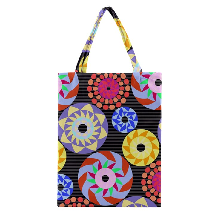 Colorful Retro Circular Pattern Classic Tote Bag