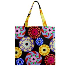 Colorful Retro Circular Pattern Zipper Grocery Tote Bag